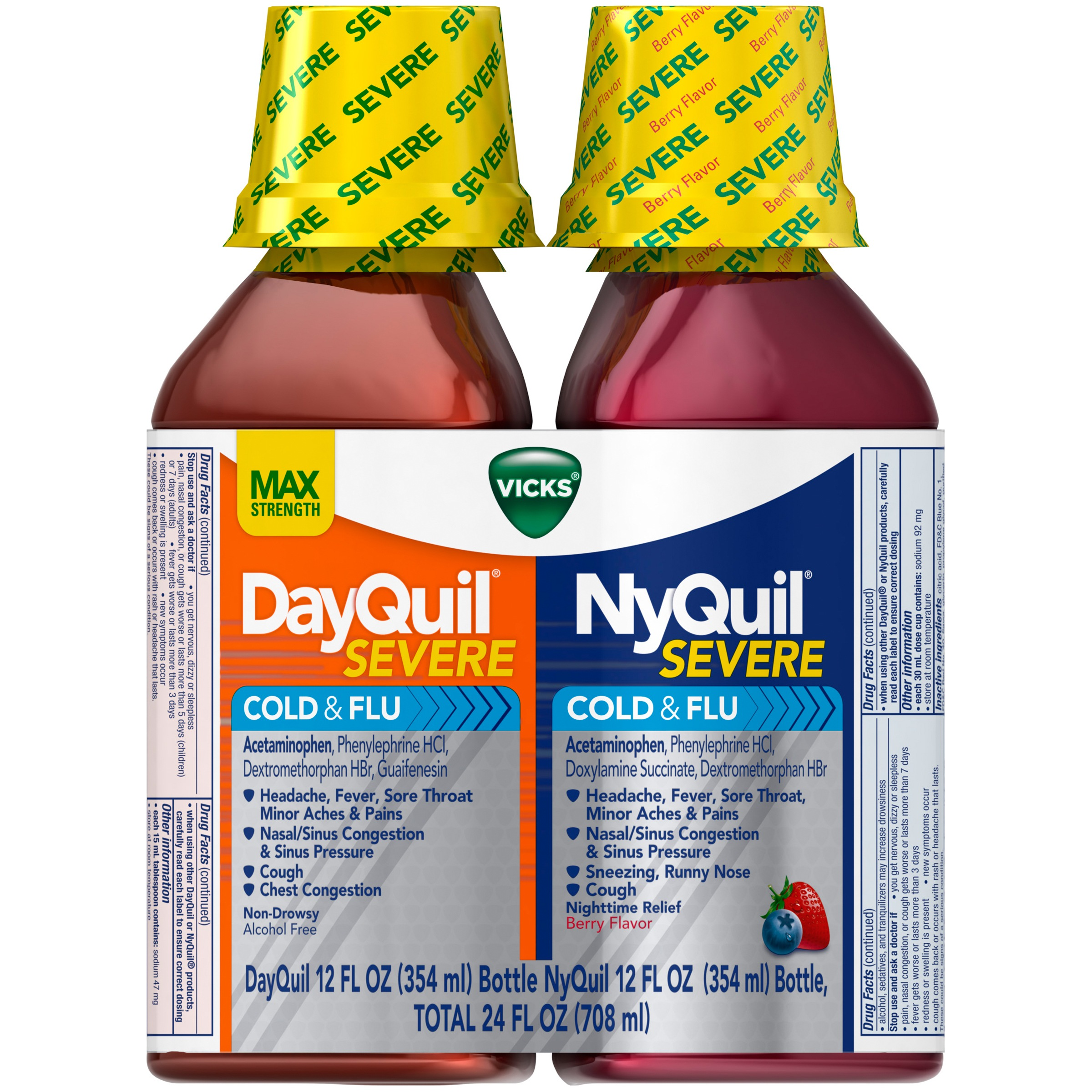 Vicks DayQuil Severe Cold & Flu and NyQuil Severe Cold & Flu Nighttime Relief Liquid, 12 Oz, 2 Pk