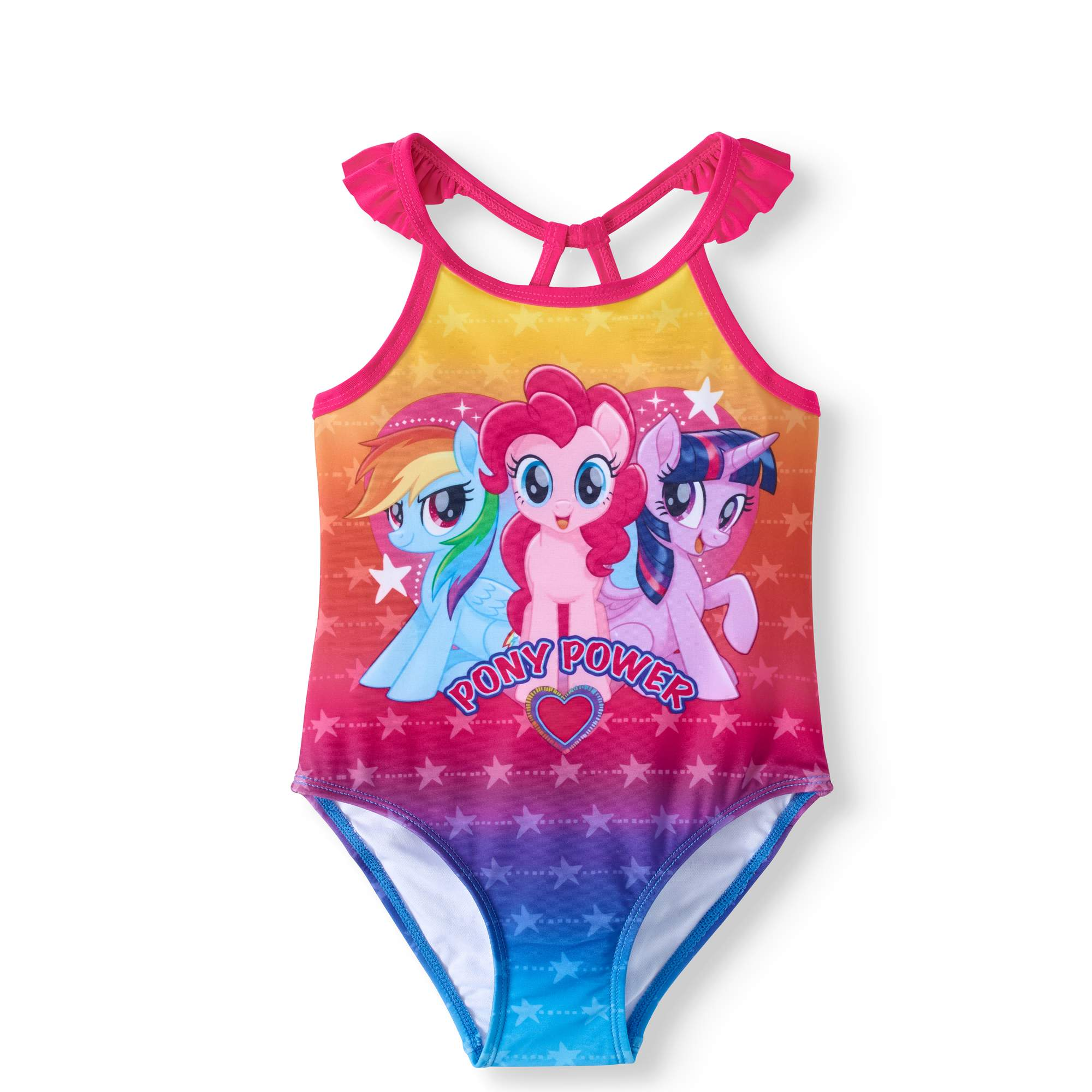 "Toddler Girl ""Pony Power"" One Piece Swimsuit"