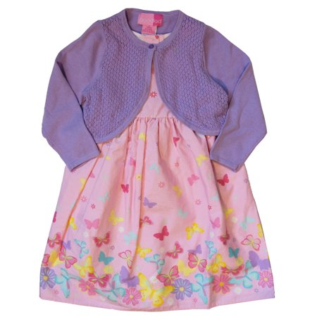 Good Lad Toddler thru 4/6X Girls Lilac Cardigan with Pink Butterfly Print Cotton Dress (Girls Butterfly Dress)