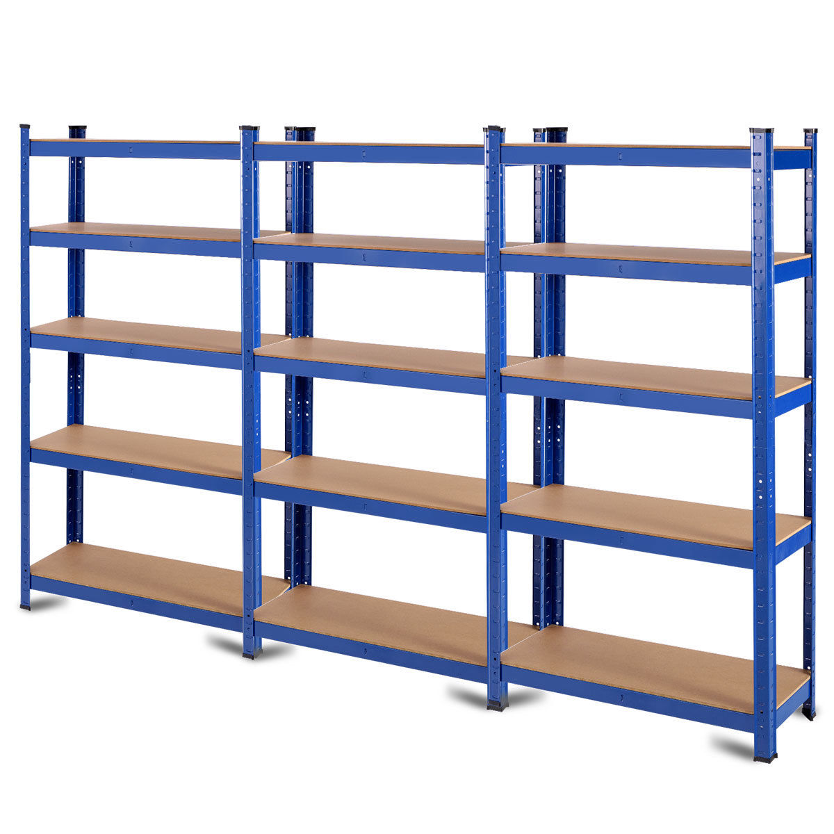 "GHP 35.5""x16""x71"" Blue Iron & Wood Space-Saving Adjustable Storage Rack w 5 Shelves"