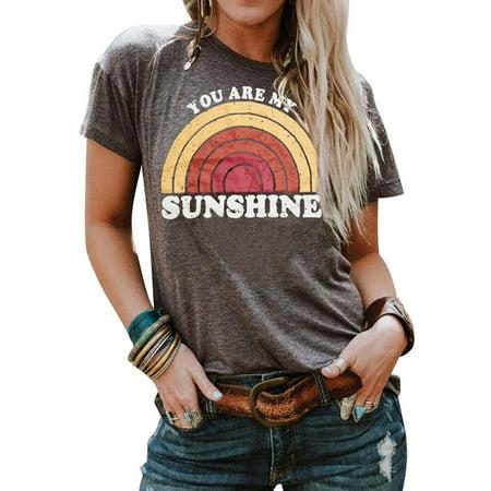 ZXZY Women Round Neck You Are My Sunshine Rainbow Graphic Tee