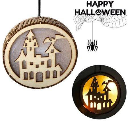 KABOER Wooden Halloween Round Computer Laser Hollow Witch Elf Pumpkin Man Haunted House Black Cat Led Light Pendant ()