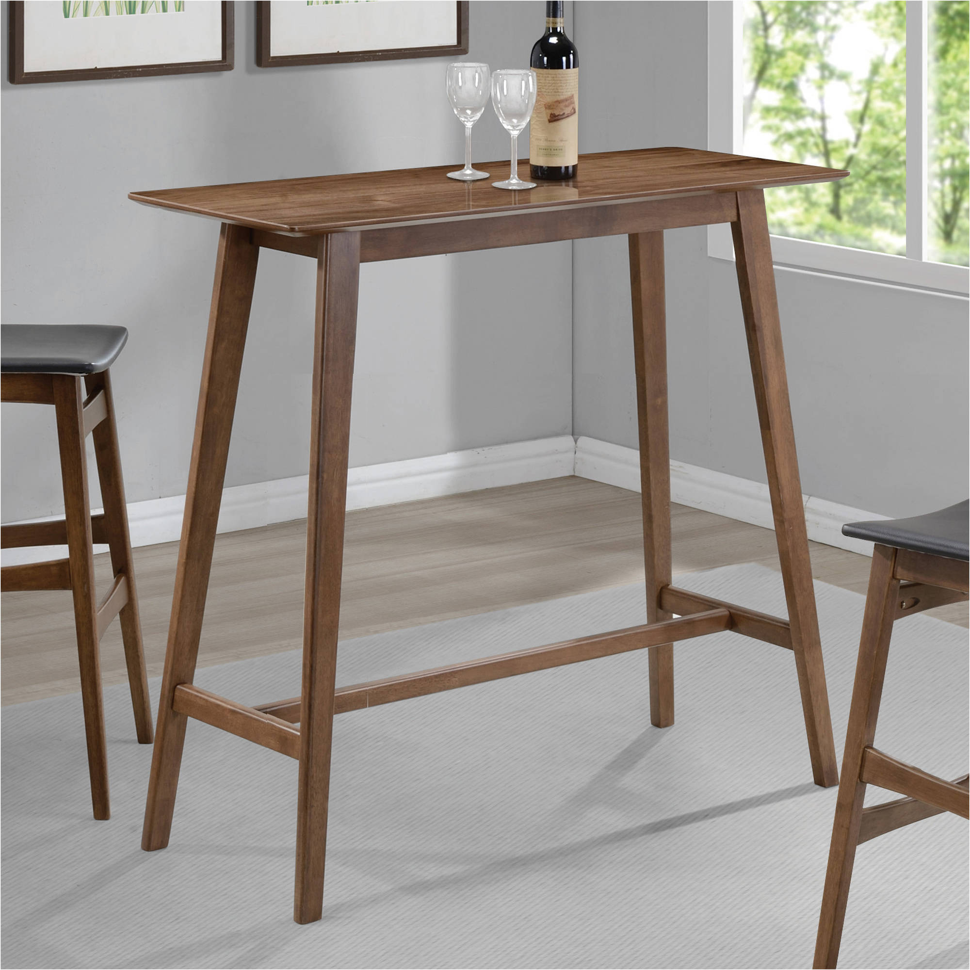 Coaster Mid-Century Modern Rectangular Bar Table, Walnut Finish