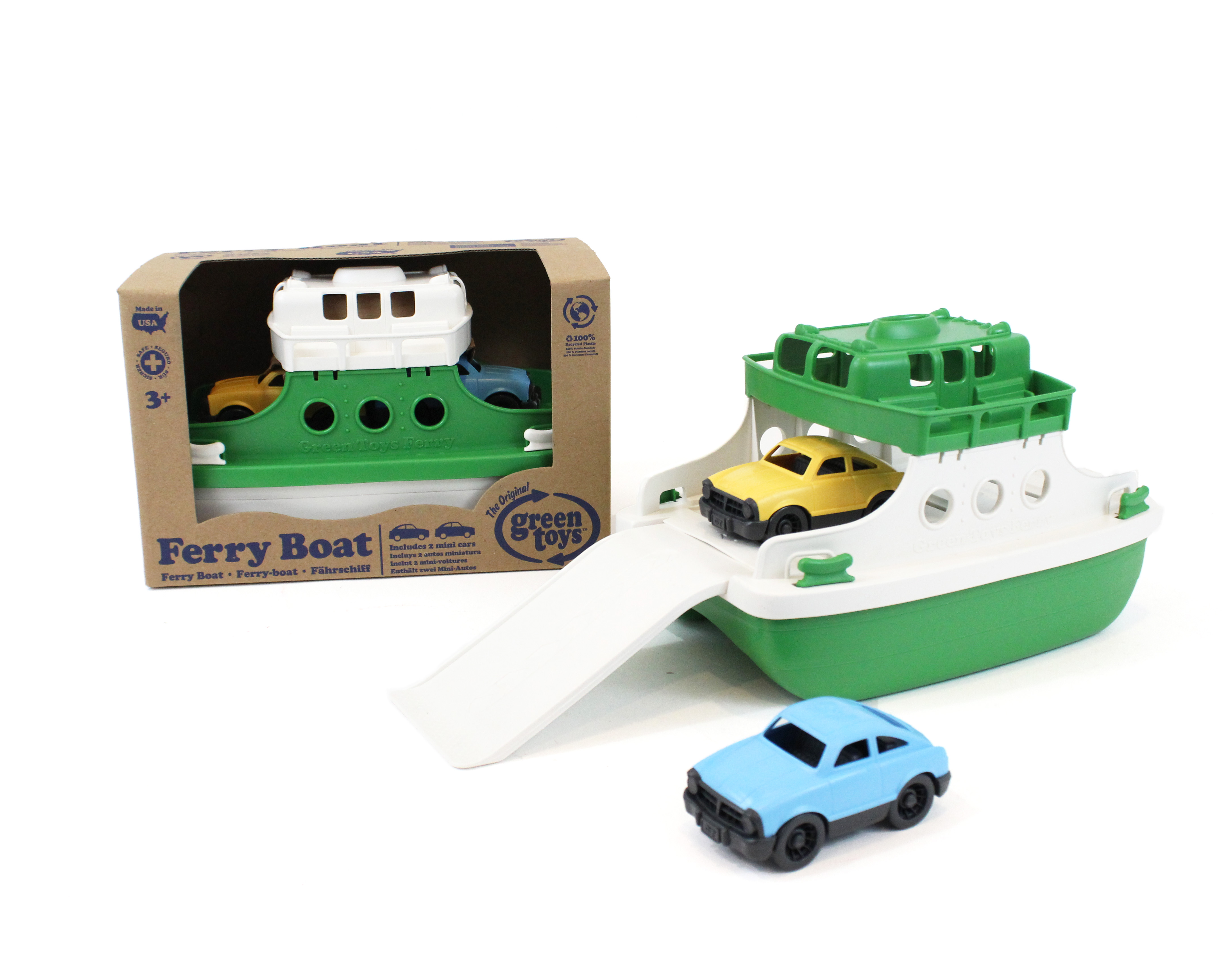 Green Toys Ferry Boat with 2 Mini Cars Green White by Green Toys
