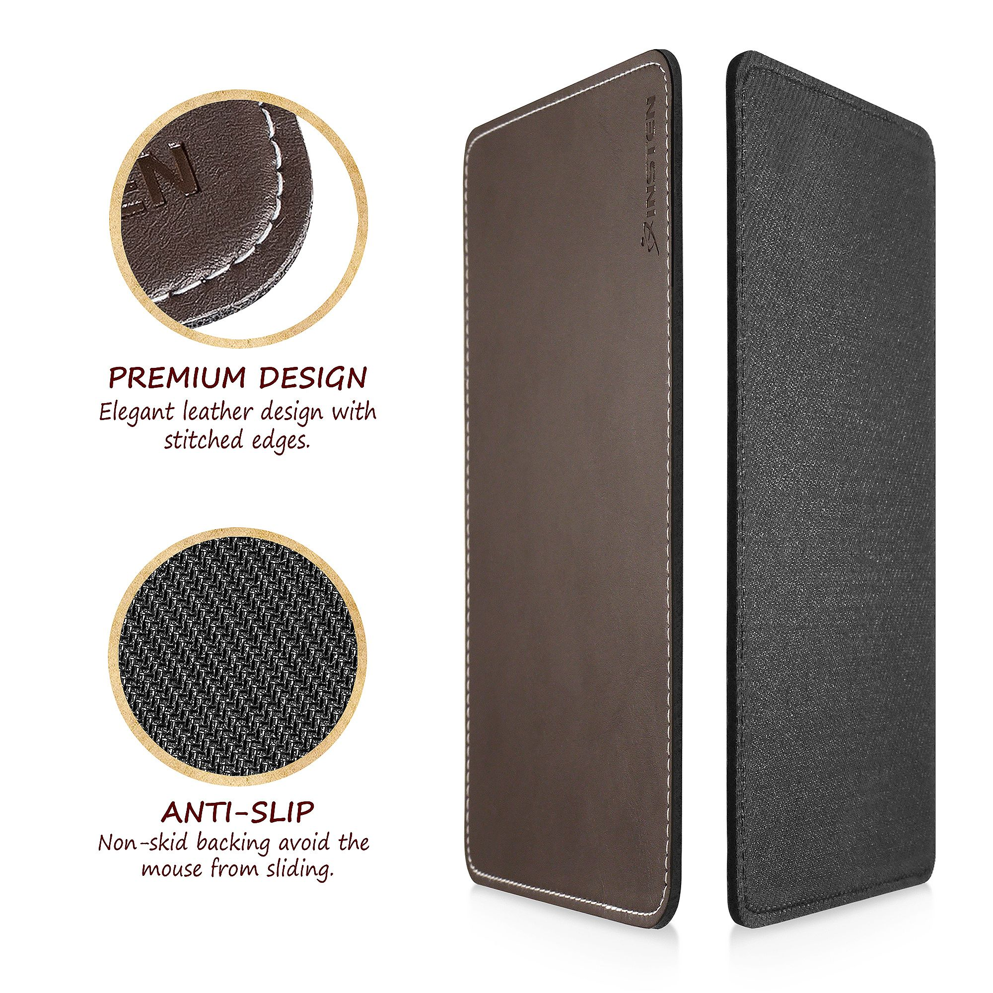 Non Slip /& Elegant Stitched Edges Brown Insten Premium Leather Mouse Pad with Waterproof Coating