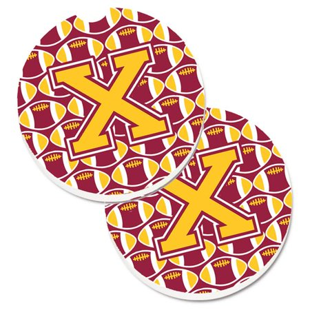 Letter X Football Green & Gold Set of 2 Cup Holder Car Coaster - image 1 de 1