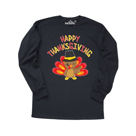 Happy Thanksgiving- cute turkey in pilgrim hat Long Sleeve T-Shirt