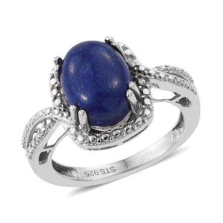 925 Sterling Silver Platinum Plated Oval Lapis Lazuli Ring Jewelry Gift - Oval Platinum Ring