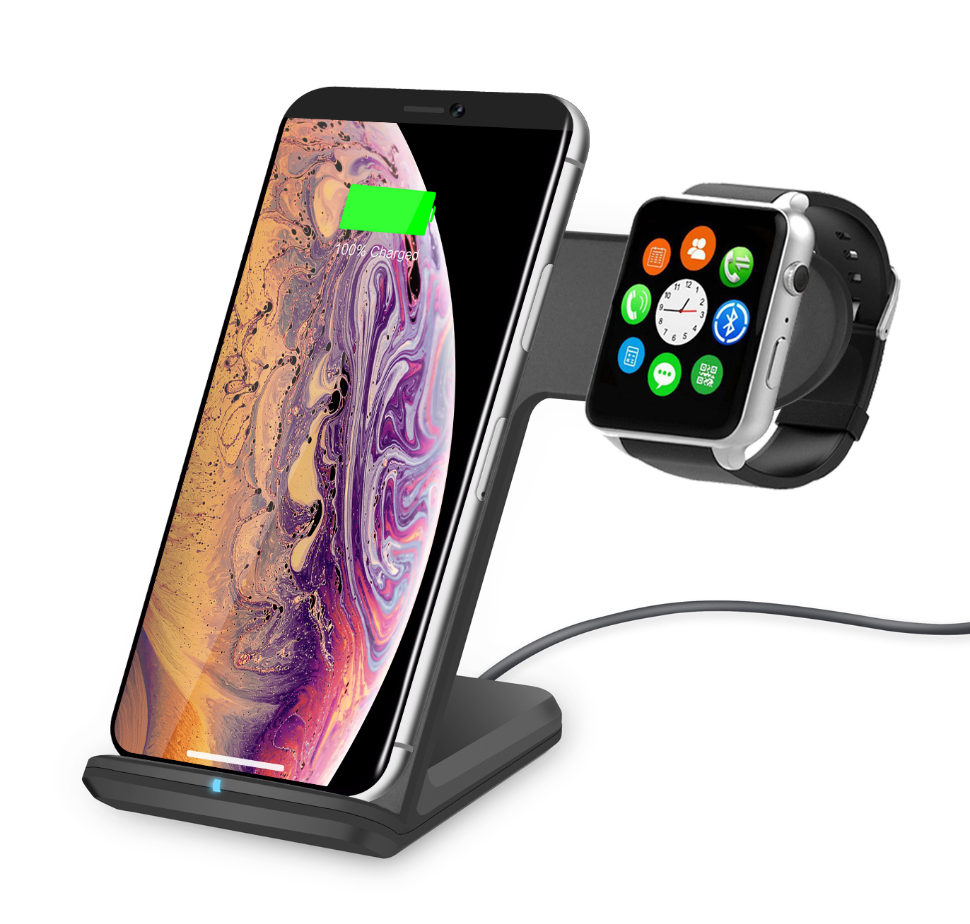 Qi Wireless Charger - Aspectek 2 in 1 Fast Wireless Charging Stand Compatible with iPhone 8/8 Plus/iPhone X/XS, Apple Watch Series 2/3, Samsung S9/S9 Plus/Note 8/ S8/S8 Plus