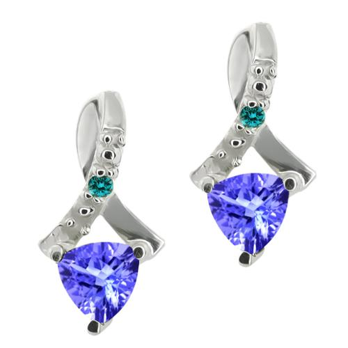 0.44 Ct Trillion Blue Tanzanite and Blue Diamond Sterling Silver Earrings