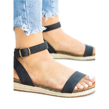 Womens Flat Low Wedge Summer Espadrilles Sandals Ankle Strap Buckle Shoes