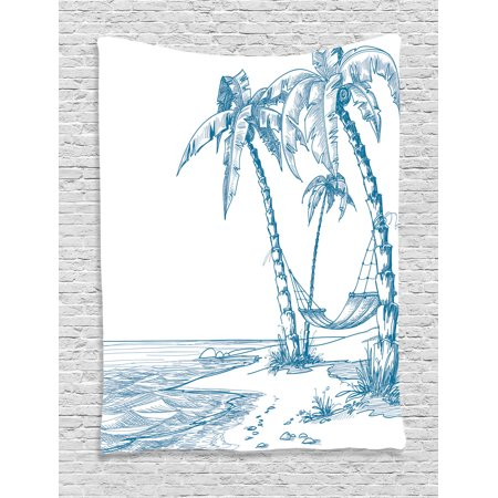 Holiday Decorations Wall Hanging Tapestry, Modern Illustration Of A Tropical Beach With Palm Trees And Hammock Hawaiian Relax, Bedroom Living Room Dorm Accessories, By Ambesonne](Beach Decoration)