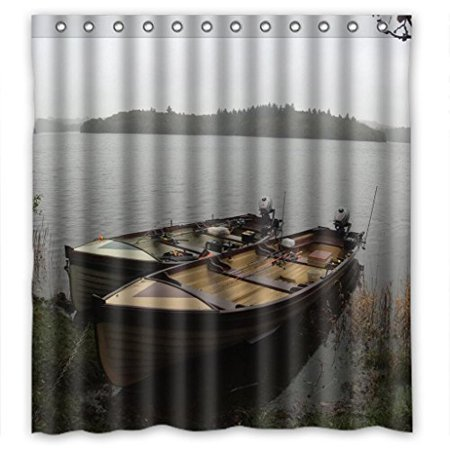 HelloDecor River Bank Fishing Boat Shower Curtain Polyester Fabric Bathroom Decorative Size 66x72 Inches
