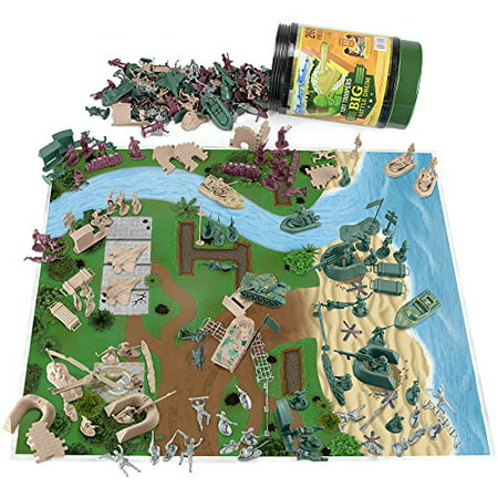 Tiny Troopers Big Battle Drum | 260-piece Army Men, Vehicles, and Play Mat - Army Men