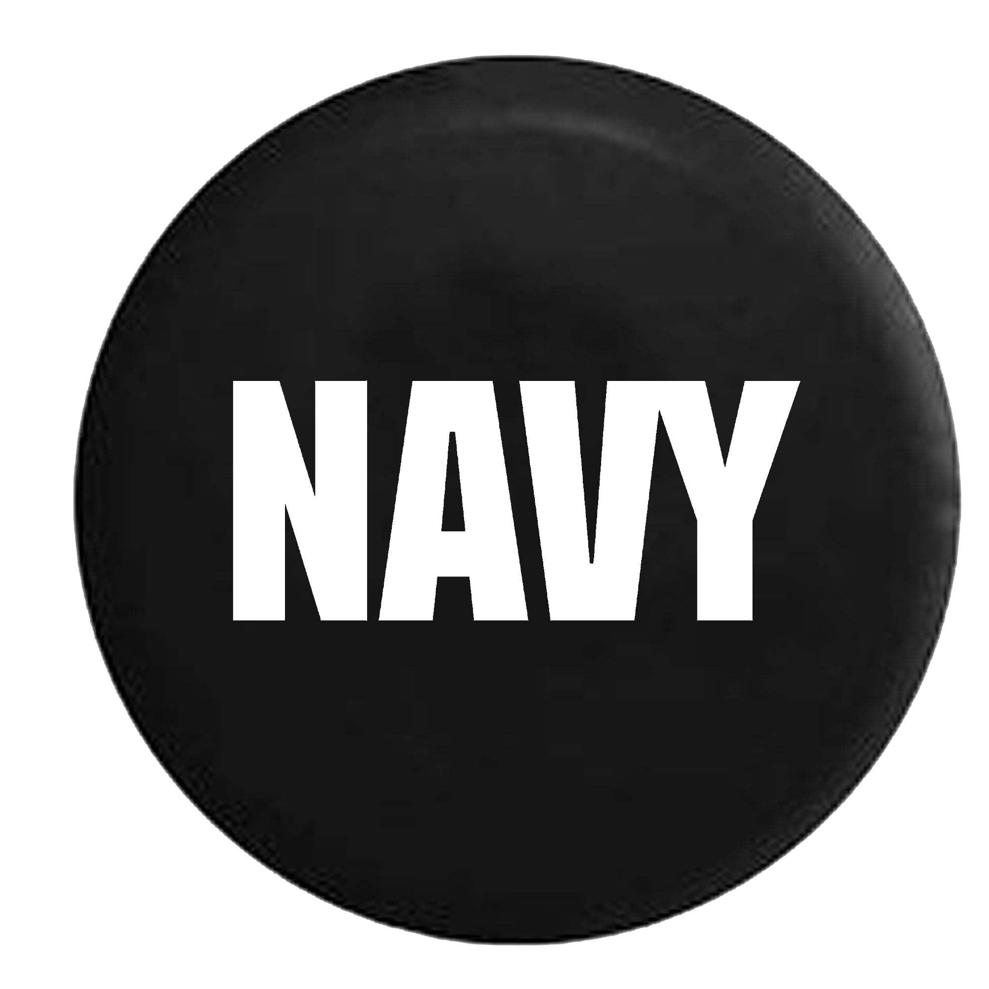 US NAVY Military Trailer RV Spare Tire Cover Vinyl Black 27.5 in