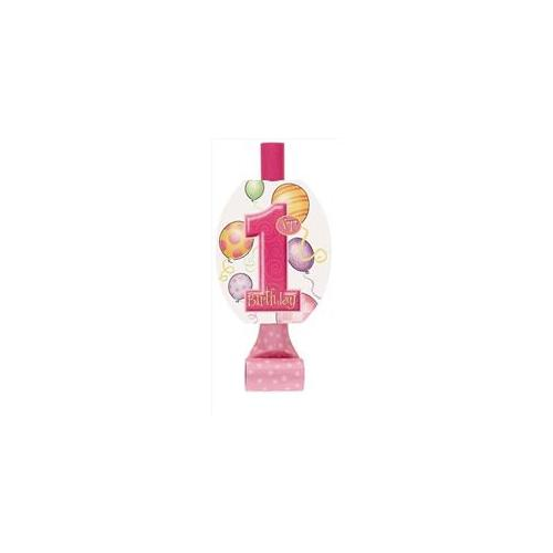 Unique Industries 23892 8 Count First Birthday Pink Balloons Blowouts Pack of 12