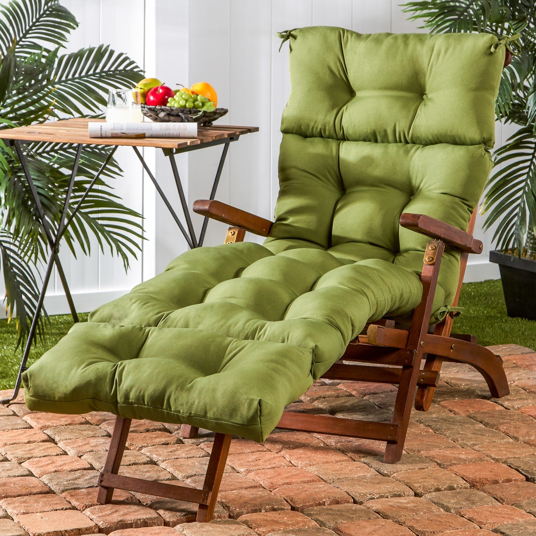 Greendale Home Fashions 72-inch Outdoor Summerside Green Chaise Lounger Cushion