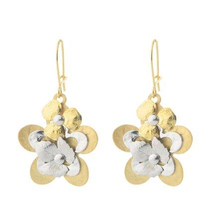 Fronay 95114 Layered Flowers Dangling Earrings in Sterling Silver - image 1 de 1