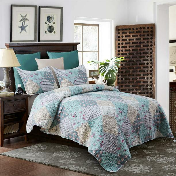 Light Green Gardens Style 3 Piece Quilt, Light Green Quilt Bedding