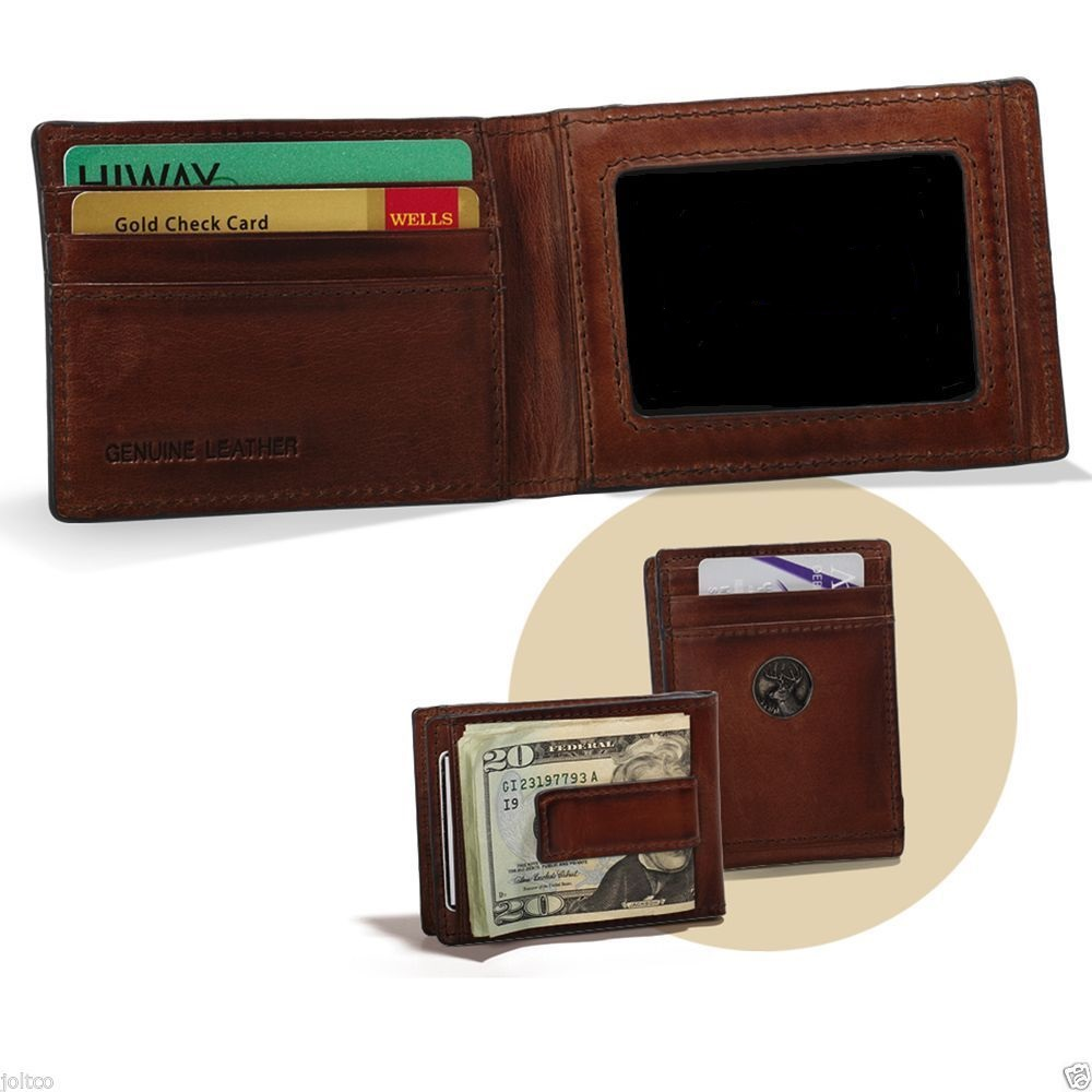 Caramel Brown Leather Front Pocket Wallet With Money Clip