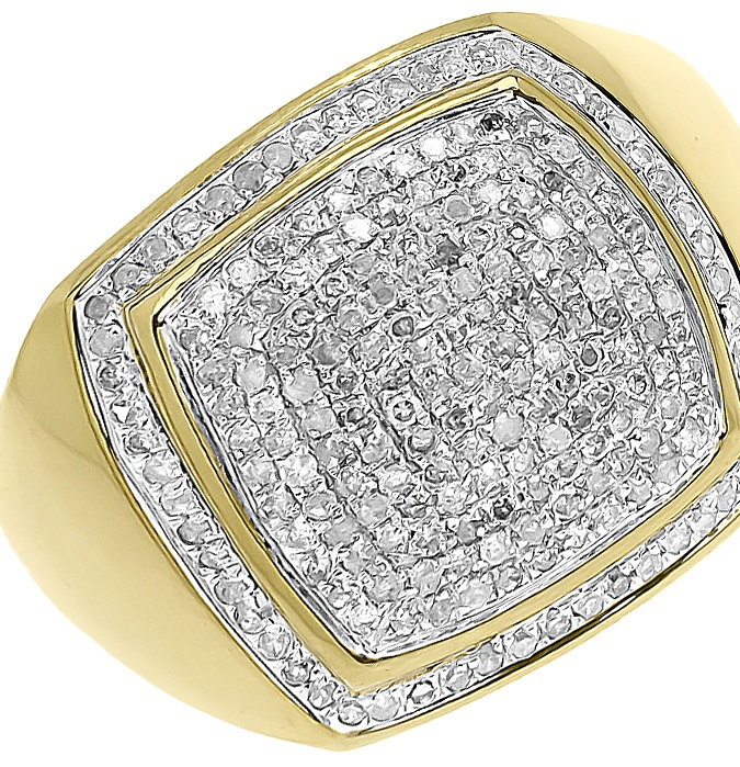 10k Yellow Gold Round Pave Diamond Pinky Fashion Ring (1 ct) by Jewelry Unlimited