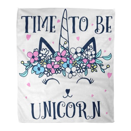 NUDECOR Flannel Throw Blanket Pink Girl Time to Be Unicorn Flower Crown Cute Dream Graphic 58x80 Inch Lightweight Cozy Plush Fluffy Warm Fuzzy Soft - image 1 of 4