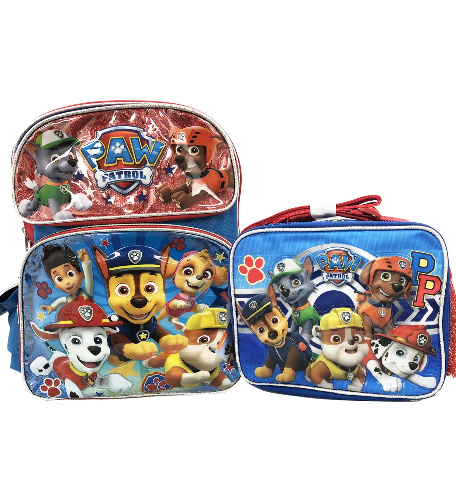 12 Paw Patrol Boys Book Bag Backpack Lunch Box Set Kids School