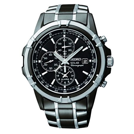 Mens Solar Alarm Chronograph Stainless Watch - Two-tone Bracelet - Black Dial - SSC143