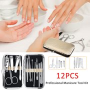 12 PCS Stainless Steel Nail Clipper Cutter Trimmer Ear Pick Grooming Kit Manicure Pedicure Cleaner Cuticle Scissor Nail Tools Set,All in One Beauty Care Tools