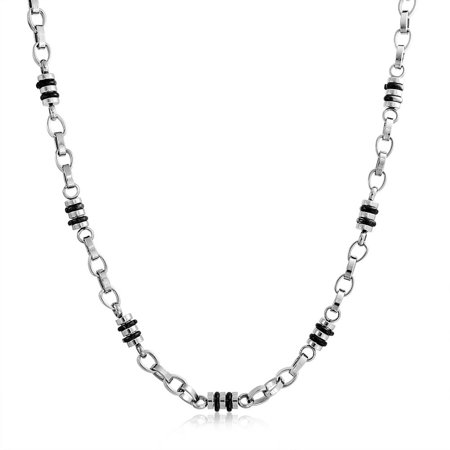Mens Black Fancy Barrel Link Chain Necklace For Teen Silver Tone Stainless Steel Chain 19 Inch Black Chain Link
