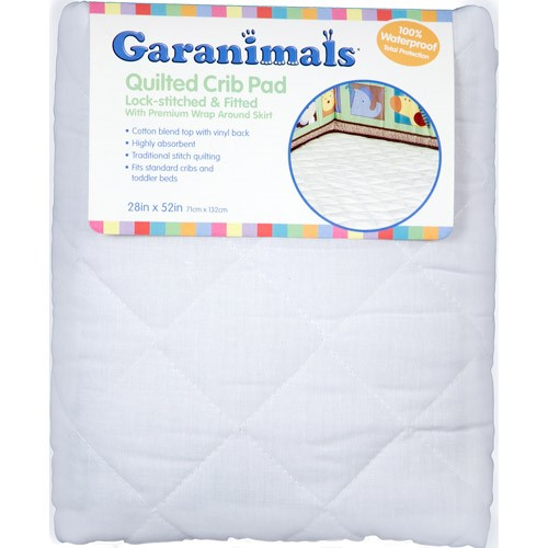 Garanimals Quilted Fitted Crib Pad, 28 inch x 52 inch, White
