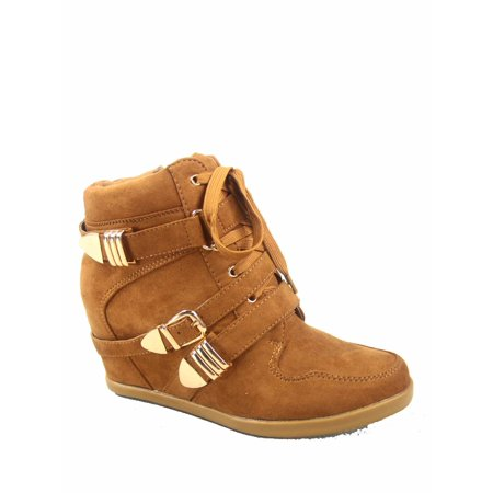 Women's Fashioin Round Toe Hook Loop Lace Up Ankle Booties Hidden Wedge Sneakers
