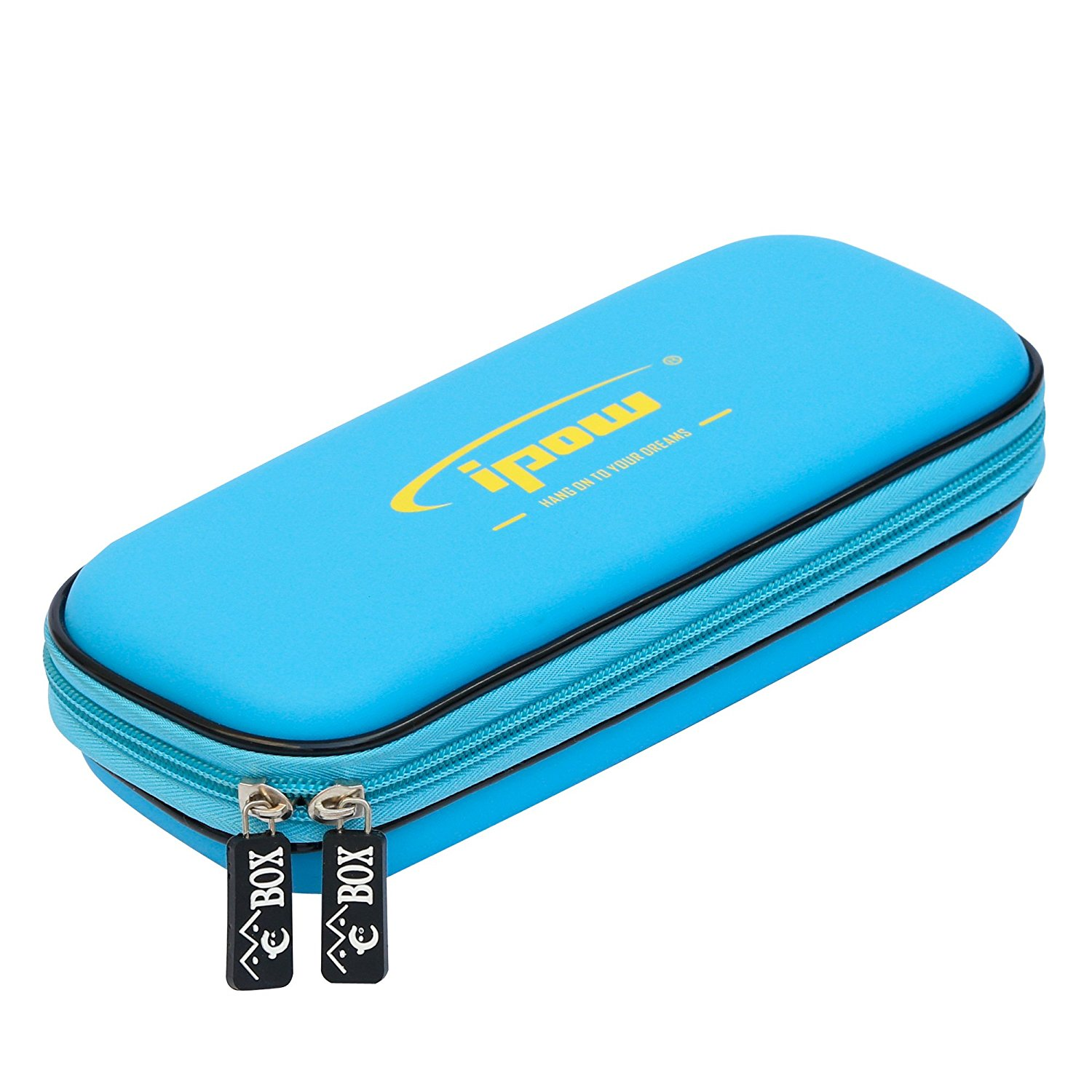 IPOW Pencil Holder Case Elastic Strap Sleeve Pocket Protective Carrying Case Storage Pouch Stationery Pencil Box Cosmetic Makeup Bag Organizer Holder, Blue