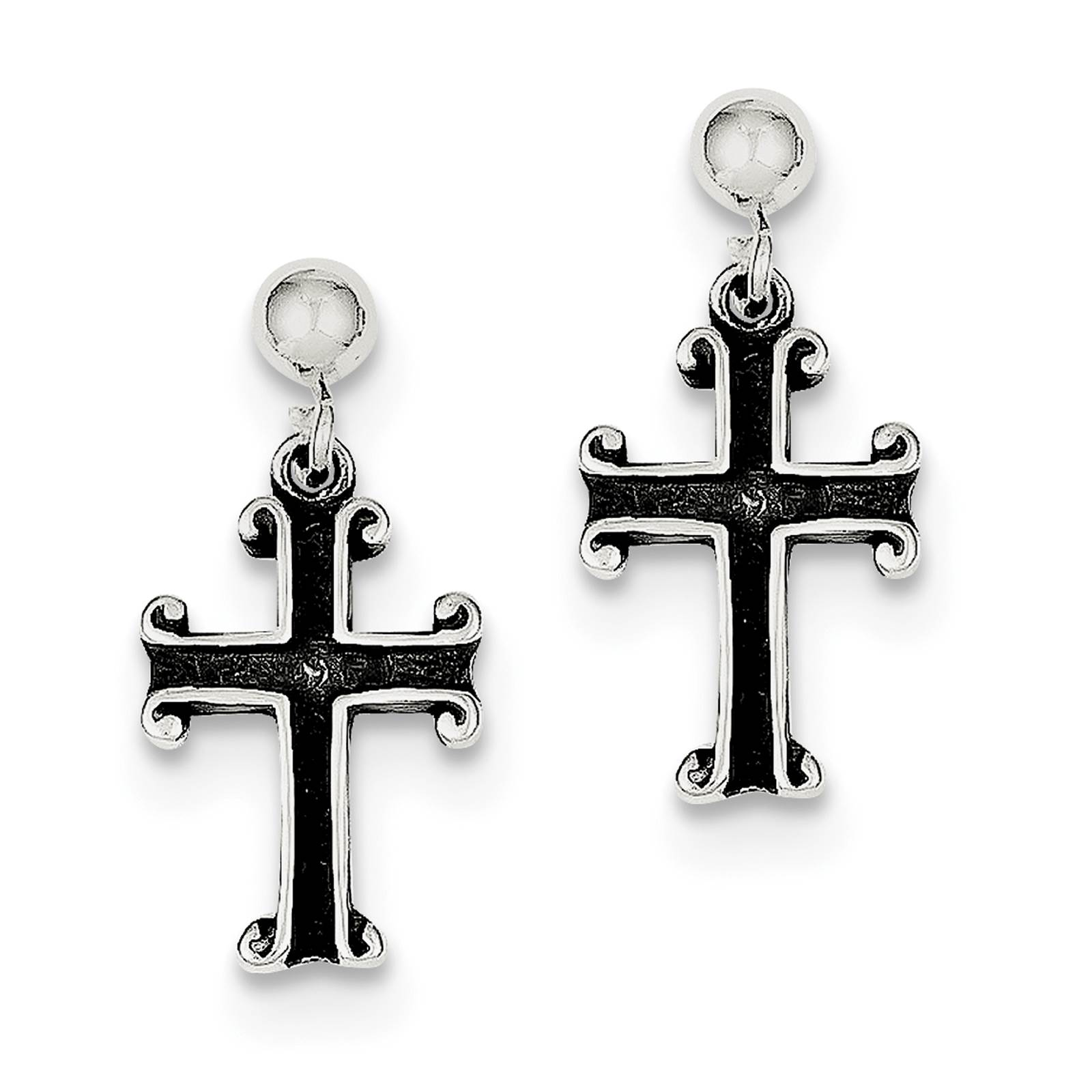 925 Sterling Silver Dangle Closed Back Antiqued Cross Post Earrings