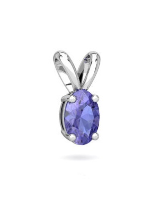 Tanzanite Solitaire Pendant in 14K White Gold by