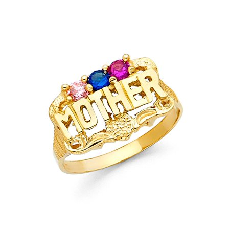 Multi Stone Band (Solid 14k Yellow Gold Mother Ring Mother Band Mothers Day Three Stone Multi Color CZ Style)