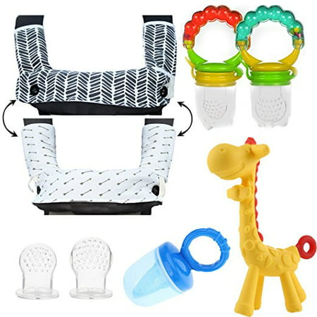 Miyim Organic Teether - Teething Drooling Baby Set - Includes Teething Pads for Ergobaby 360 Carrier, 2 baby fresh fruit feeders, mesh feeder, 2 Infant Pacifiers and Girafee Teether Toy for Infants & Toddlers
