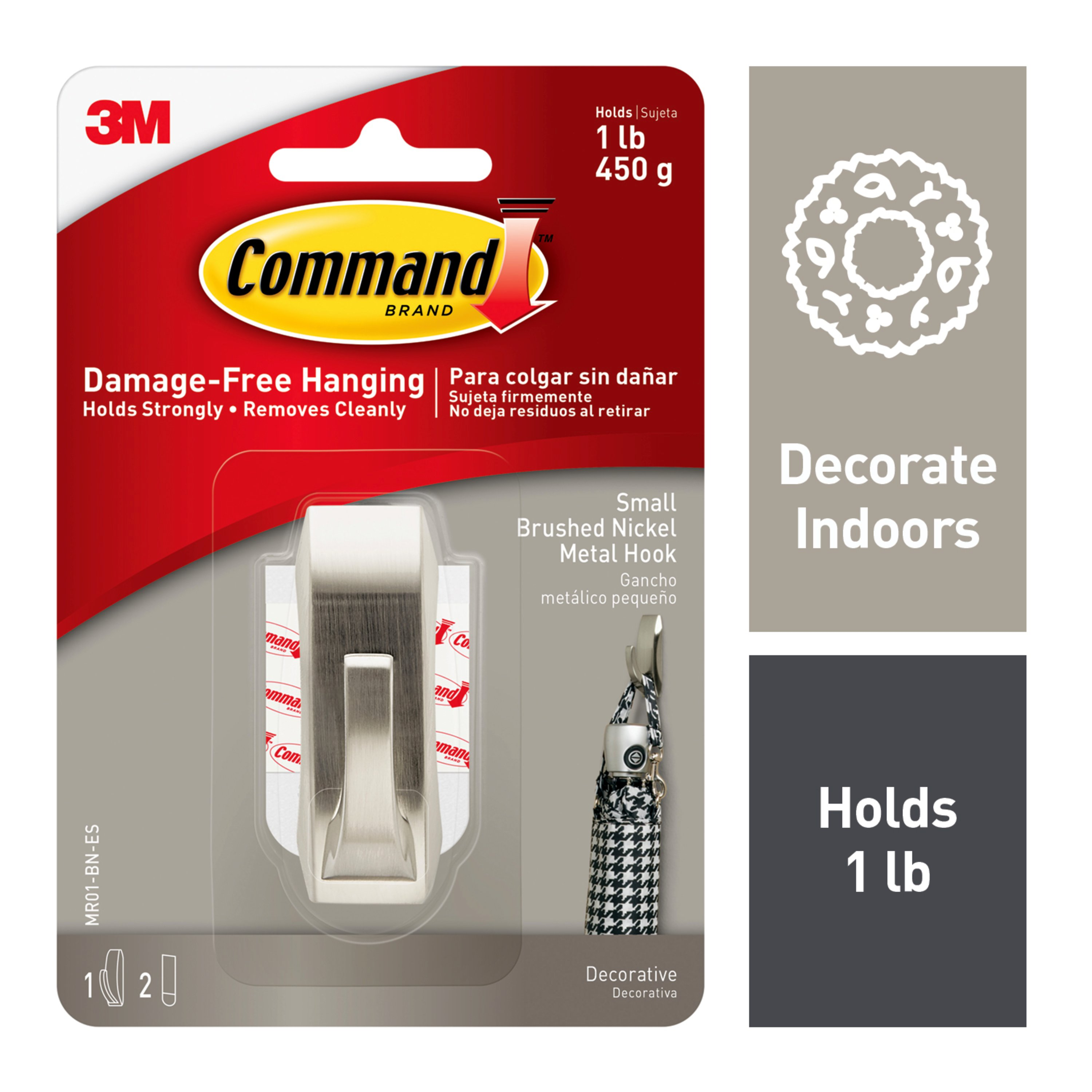 Command Modern Reflections Hook, Brushed Nickel, Small, 1 Hook, 2 Strips/Pack