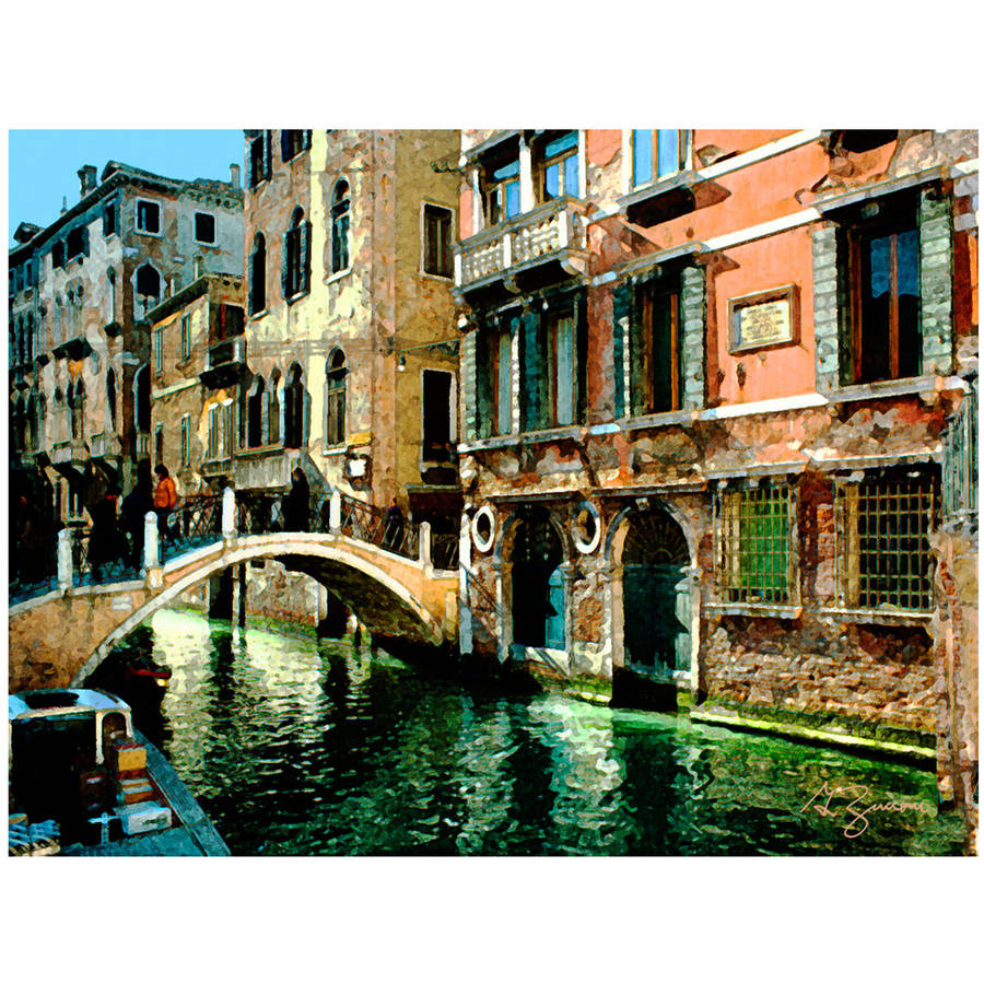 """ArtWall George Zucconi """"Venice Canal"""" Wrapped Canvas"""