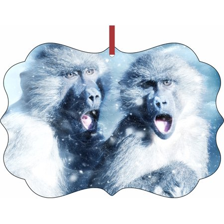 Whimsical Monkeys in the Snow Aluminum SemiGloss Quality Aluminum Benelux Shaped Hanging Christmas Holiday Tree Ornament Made in the U.S.A.