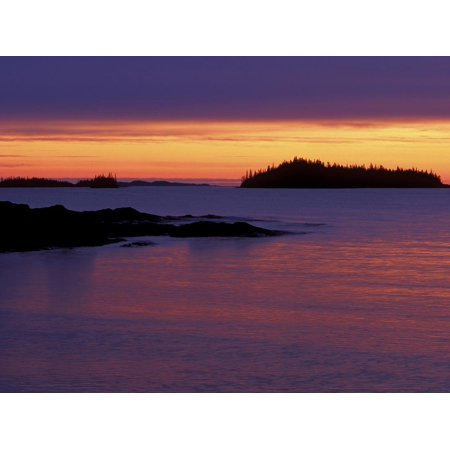 National Parks Issue - Spring Sunrise Silhouettes Edwards Island and Clouds on Lake Superior, Isle Royale National Park Print Wall Art By Mark Carlson