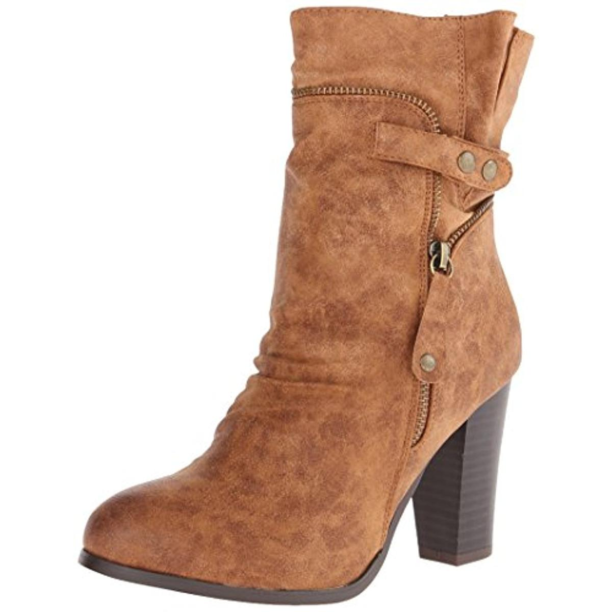 2 Lips Too Womens Too Willie Faux Leather Mid-Calf Motorcycle Boots