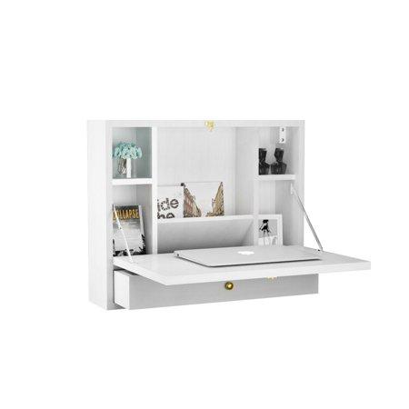 Gymax Wall Mounted Folding Laptop Desk Hideaway Organizer Storage Space Saver w/Drawer