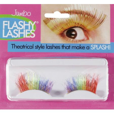 Loftus Women Flashy Lashes Costume Jumbo Eyelashes, Rainbow, One Size - Plus Size Rainbow Bright Costume