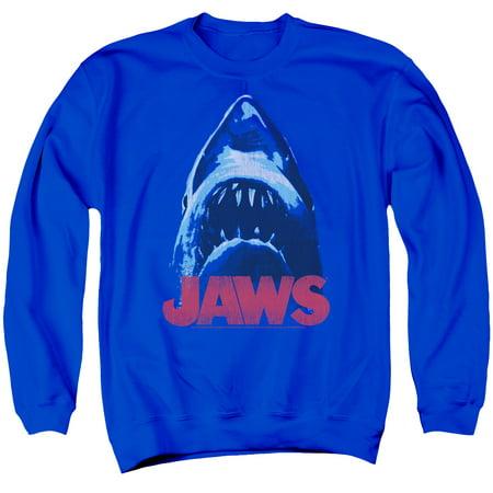Jaws Shark Horror Spielberg Movie Bite From Below Logo Adult Crewneck