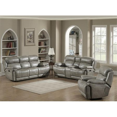 AC Pacific ESTELLA-3PC-SET Estella Contemporary Reclining Sofa - Loveseat  with Storage Console & Glider Reclining Chair, 3 Piece Set