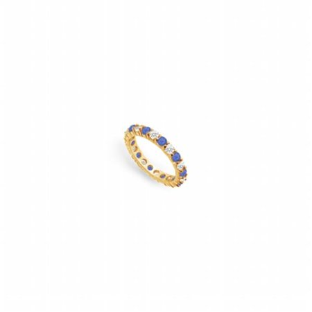 Diamond & Blue Sapphire Eternity Band 18K Yellow Gold, 2.00 CT - Size (Sapphire And Diamond Eternity Band Yellow Gold)