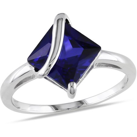 2-4/5 Carat T.G.W. Square-Cut Created Blue Sapphire Sterling Silver Cocktail Ring