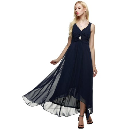 Women Sleeveless Ruched Chiffon Maxi Cocktail Party Evening Fromal Gown Dress HFON (20s Themed Dresses)