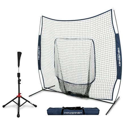 PowerNet Baseball Softball 7x7 Practice Net Bundle w/ Travel (Baseball Rebounder Nets)